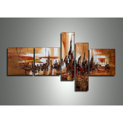 Hand Painted Abstract Cityscape Painting - 64 x 34in