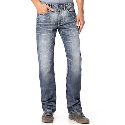 Buffalo Jeans DRIVEN MIDRISE STRAIGHT LEG IN MEDIUM BLASTED
