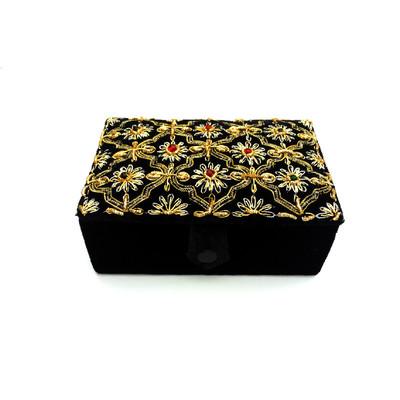 Black Velvet & Satin Jewelry Box