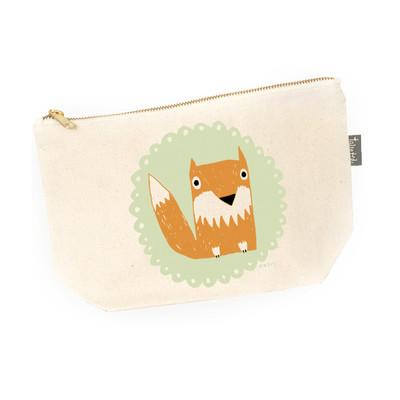 UK design  canvas zip purse - mr. fox