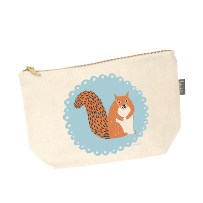 UK design  canvas zip purse - mr. squirrel