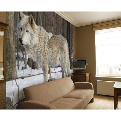 JP London MD3A026 Prepasted Winter Animal Forest Wolf Removable Full Wall Mural At 105 Feet Wide By 85 High