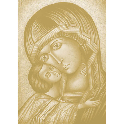 JP London MD4A007 With The Son Virgin Mary with Child Christian Artist Rendition Holy Catholic Painting Fully Removable Prepasted Accent Wall Mural at 8.5 feet high by 6 feet wide