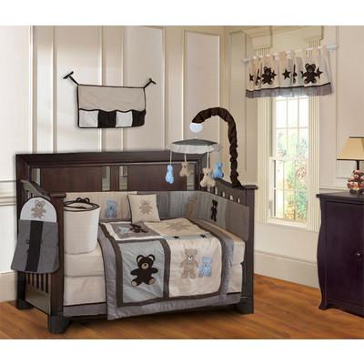 Teddy Bear 10 Piece Boys Baby Crib Bedding Set (Including Musical Mobile)