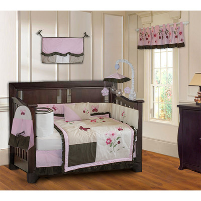 Pink Blossom 10 Piece Girls Baby Crib Bedding Set (Including Musical Mobile)