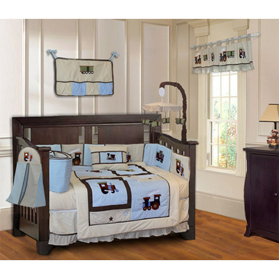 Train 10 Piece Boys Blue Baby Crib Bedding Set (Including Musical Mobile)