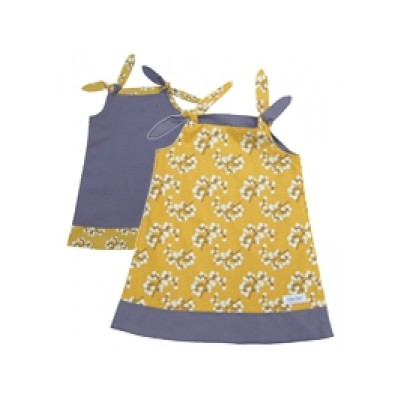 Binksy and Bobo Reversible Tie Dress - Snowberry w/Charcoal