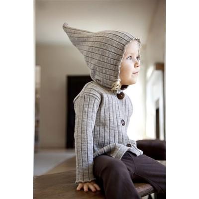 Nui Organics Merino Wool Rib Hood Jacket - Silver (12 - 18 m)