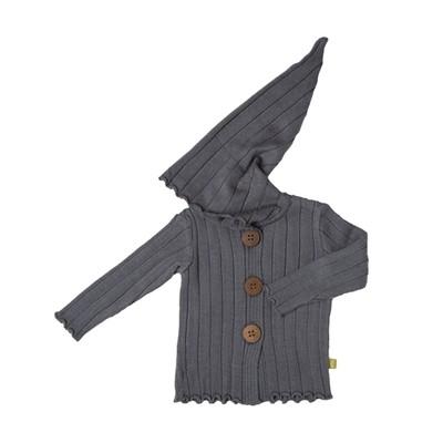 Nui Organics Merino Wool Rib Hood Jacket - Charcoal (12 - 18 m)