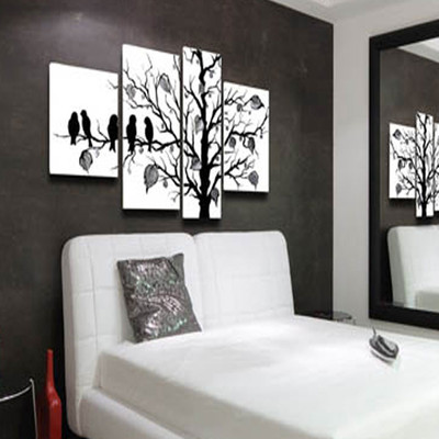 Oil Painting on Canvas- Black and White Birds - 50 x 30in- 4 Panels