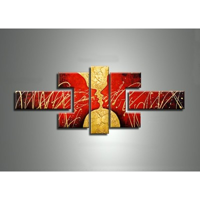 Red and Gold Faces Home Art- 52 x 30in- 5 Panels
