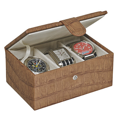 LEATHERETTE WATCH BOX (holds 3 big watches)