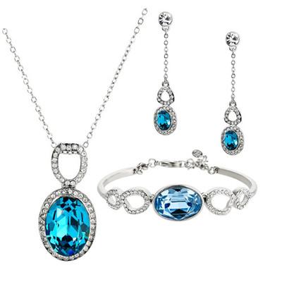 Platinum Plated Swarovski Elements 3 Piece Jewellery Set