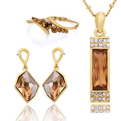 14K Gold Plated Swarovski Elements 4 Piece Jewellery Set