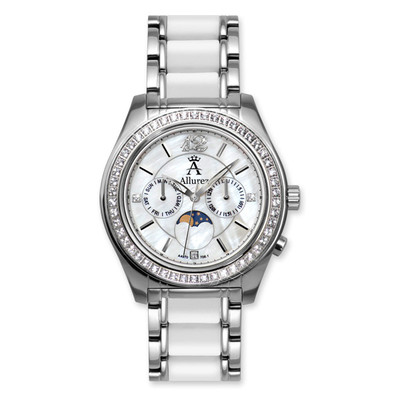 Allurez Women's White Topaz Moonphase Watch with Mother Of Pearl Dial Swiss