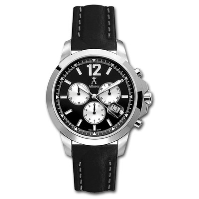 Allurez Men's Fixed Bezel Three-Dial Chronograph Watch with Leather Band Swiss