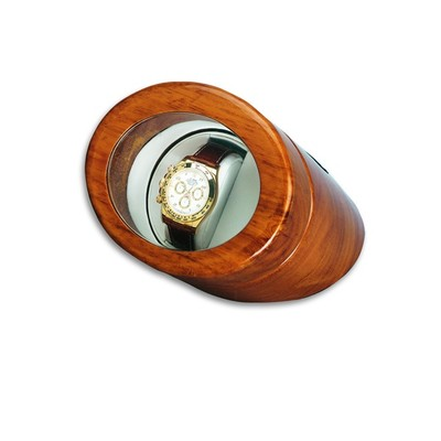 Watch Collectors Oak Wood Single Round Watch Winder Brown High Gloss