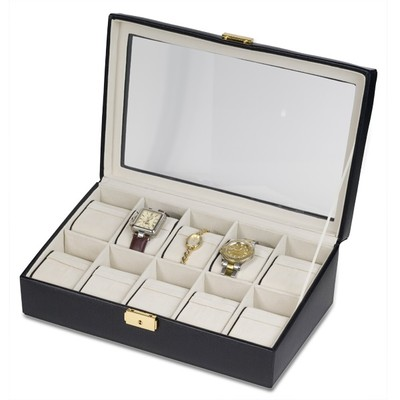 Elegant Calfskin Leather Watch Box and Display Case w/ Glass Top Holds 10 Watches