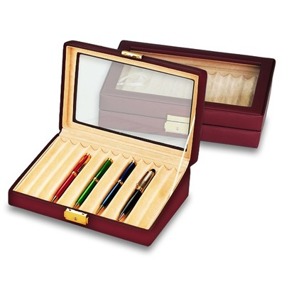 Leather Collector?s Pen Box and Display Case w/ Glass Top Holds 12 Pens