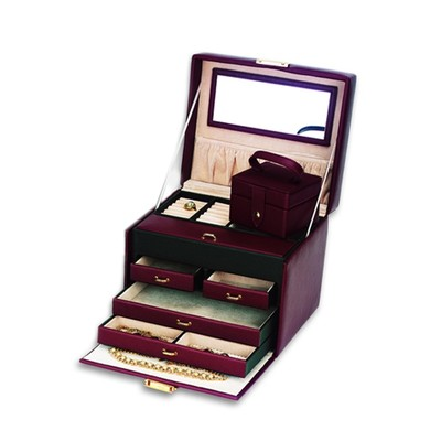 Genuine Brown Leather 4 Drawer Jewelry Box w/ Separate Mini Travel Box