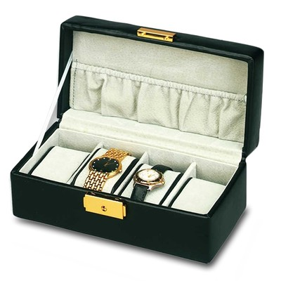Genuine Black Top Grain Cowhide Leather Watch Box Holds 4 Timepieces