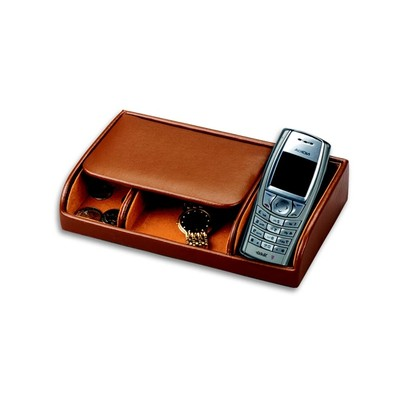 Men's Pigskin Lined Genuine Leather Dresser Valet  Box w/ Cell Phone Slot