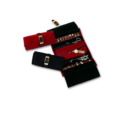 Women?s Fine Black Suede and Leather Travel Jewelry Roll w/ Removable Pouch