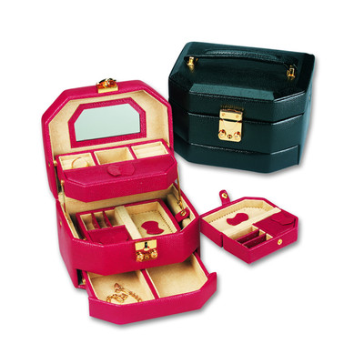 Women's Black Calfskin Leather Jewelry Box w/ Removable Travel Case, Lock and Key