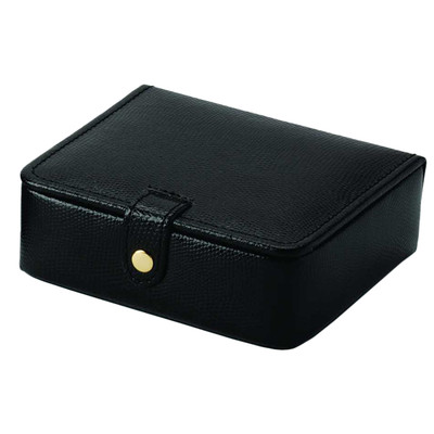 Pigskin Lined Genuine Black Leather Ring and Jewelry Box For Home or Travel
