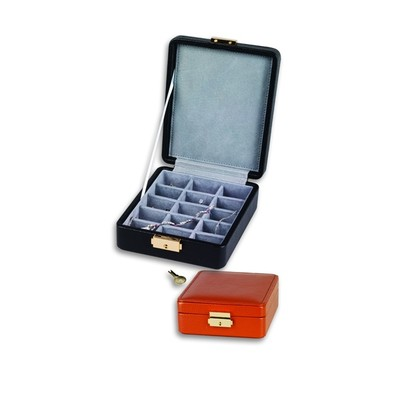 Pebble Grained Leather Ring or Earring Jewelry Box w/ 15 Lined Compartments