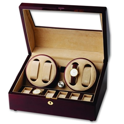 Sturdy Wooden Burgundy Quad Watch Winder and Display Case for Six Additional Timepieces
