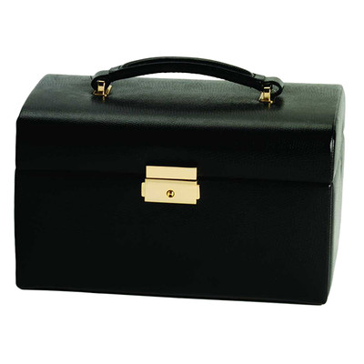 Women's Fine Leather Jewelry Box w/ Drawers, Ring Bars, Mirror, Travel Handle
