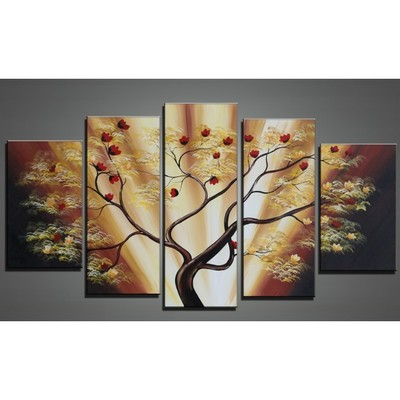 Hand Painted Modern Brown Tree Artwork  - 60 x 32in