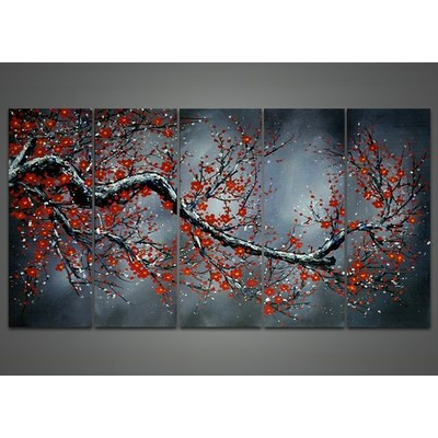 Modern Black Floral Oil Painting - 60 x 32in