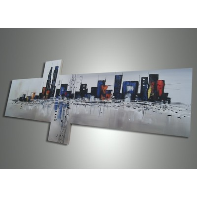 Modern Cityscape Painting- 63 x 30 In