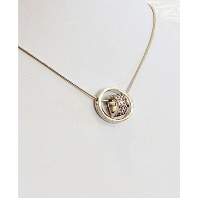 """18"""" Heart in Ring Crystal Necklace"""