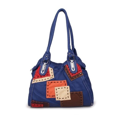 Retro Patch Blue Luxanne Stonewashed Tote Bag