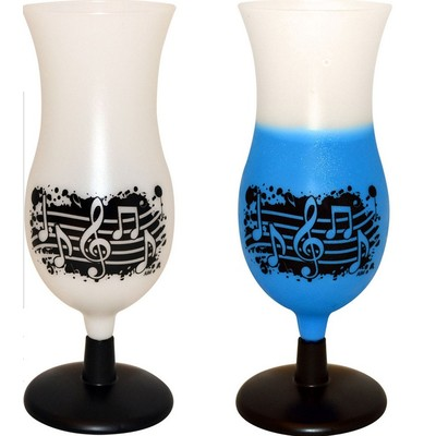 14oz Splatter Plastic Cup - White to Blue with Notes - Aim - 2130