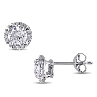 Halo Diamond and Created White Sapphire Stud Earrings in Sterling Silver