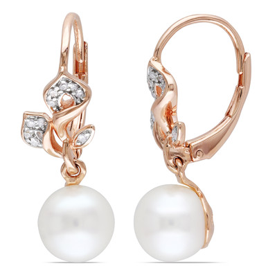 7.5 - 8 MM White Freshwater Cultured Pearl and 1/10 CT TW Diamond Floral Leverback Drop Earrings in Rose Plated Sterling Silver