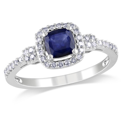 Amour Collection 10K White Gold Diffused Sapphire and Diamond Ring (.2 Cttw, G-H Color, I1-I2 Clarity)