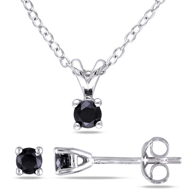 1/2 CT TW Black Solitaire Diamond Pendant with Chain and Earrings Set in Sterling Silver