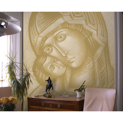 JP London uStrip Peel and Stick MD4007PS With The Son Virgin Mary with Child Christian Artist Rendition Holy Catholic Painting Fully Removable Accent Wall Mural at 8.5 feet high by 6 feet wide