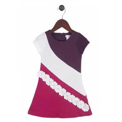 Gidget Loves Milo Purple Swirl 1-Piece Girls' Colour Block Dress with Appliques