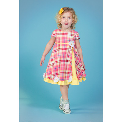 Gidget Loves Milo Infant and Girls' 1pc Bright Plaid Empire Dress