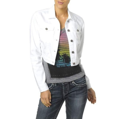 Silver Jeans CROPPED WHITE DENIM JACKET