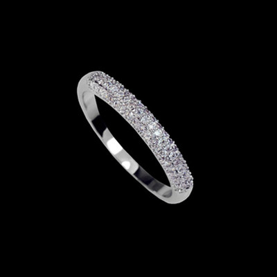 18K White Gold Plated Micro Cubic Zirconia Pave Band