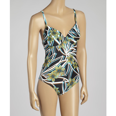 Floral padded underwire one-piece swimsuit