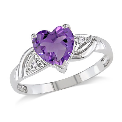 Amour Collection 10K White Gold Amethyst and Diamond Heart Ring (0.01 Cttw, G-H Color, I2-I3 Clarity)