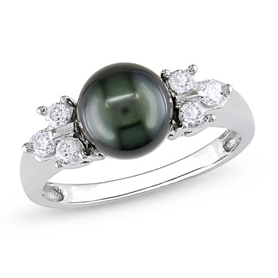 Black Freshwater Cultured Pearl and 1/5 CT TW Diamond Ring in 14k White Gold